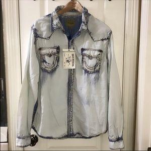 New Auth True Religion Jeans denim shirt XXL
